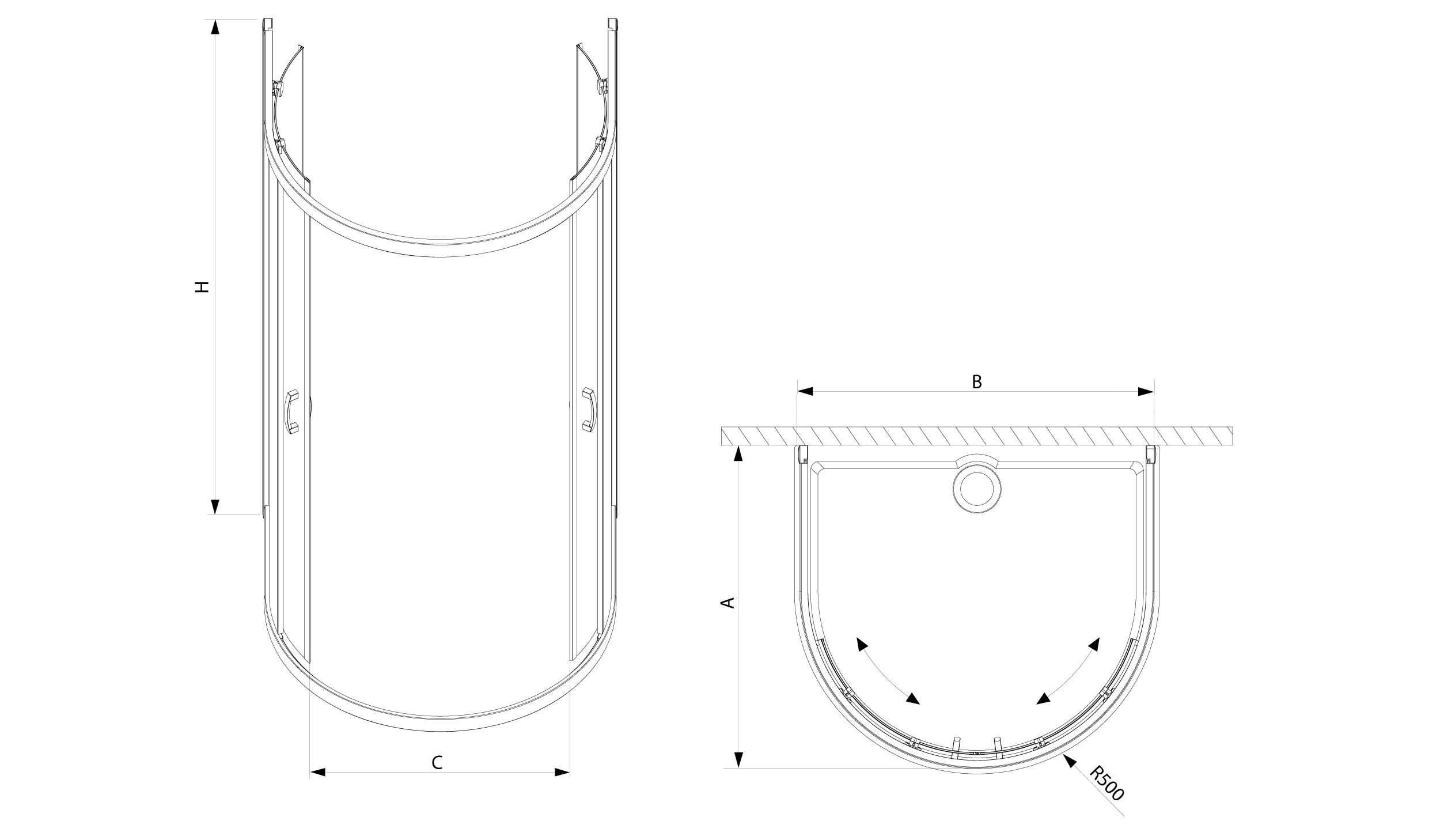 Radaway Premium Plus P falsíkra szerelhető görgős zuhanykabin