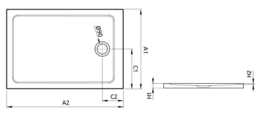 Doros F szögletes zuhanytálca