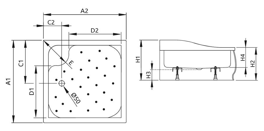 Korfu C szögletes zuhanytálca
