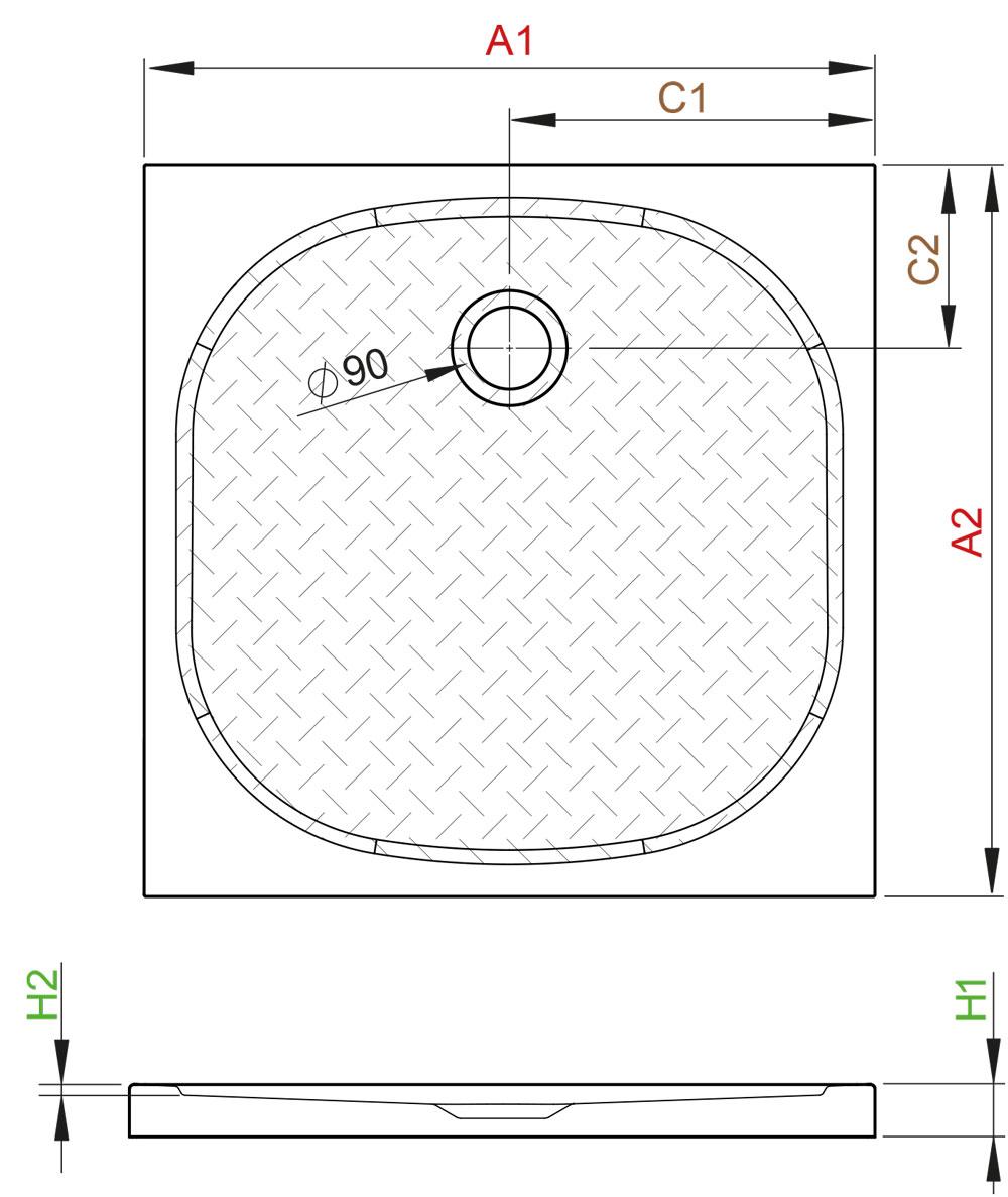 Zantos C szögletes lapos zuhanytálca